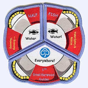5th Great Harwood Guides swimming badges badge
