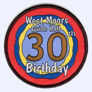 West Moors Guide Hall 30th Birthday badge