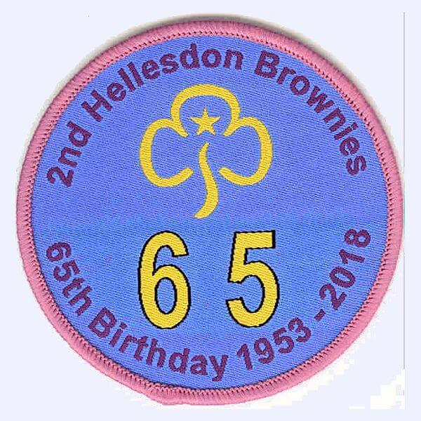 2nd Hellesdon Brownies 65th Birthday badge